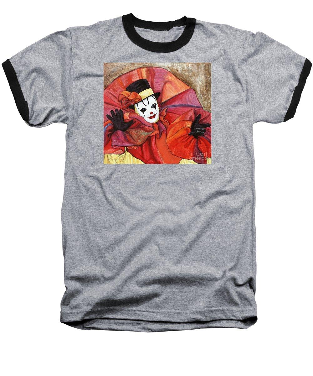 Clown Baseball T-Shirt featuring the painting Carnival Clown by Patty Vicknair