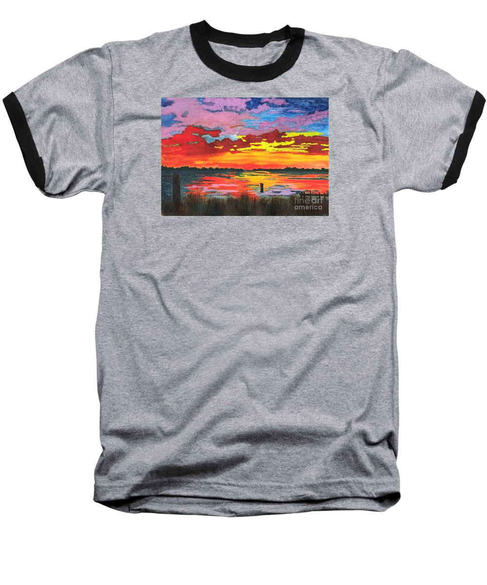 Original Painting Baseball T-Shirt featuring the painting Carolina Sunset by Patricia Griffin Brett