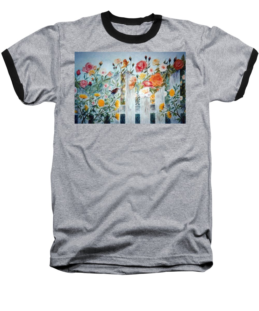 Roses; Flowers; Sc Wren Baseball T-Shirt featuring the painting Carolina Wren And Roses by Ben Kiger
