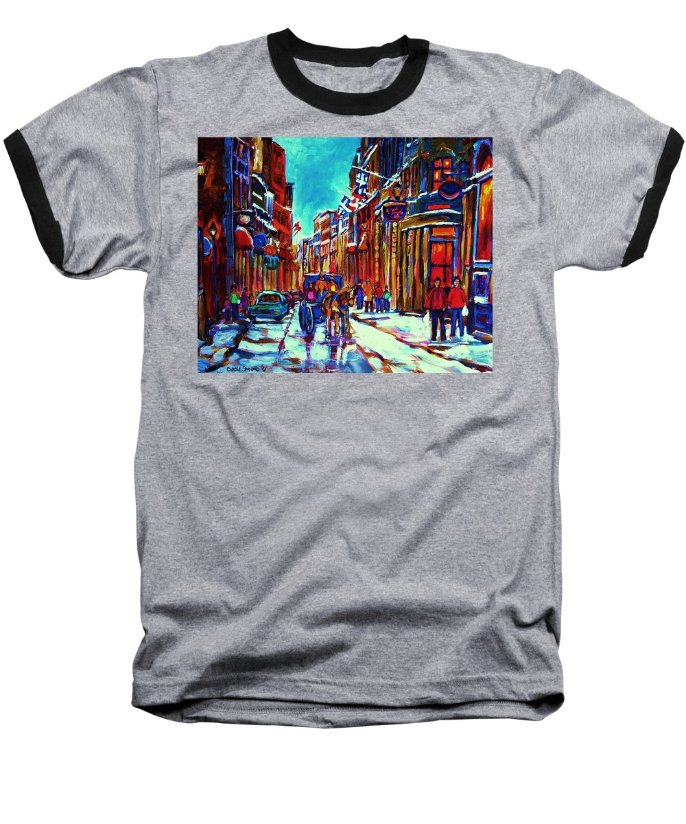 Old Montreal Baseball T-Shirt featuring the painting Carriage Ride Through The Old City by Carole Spandau