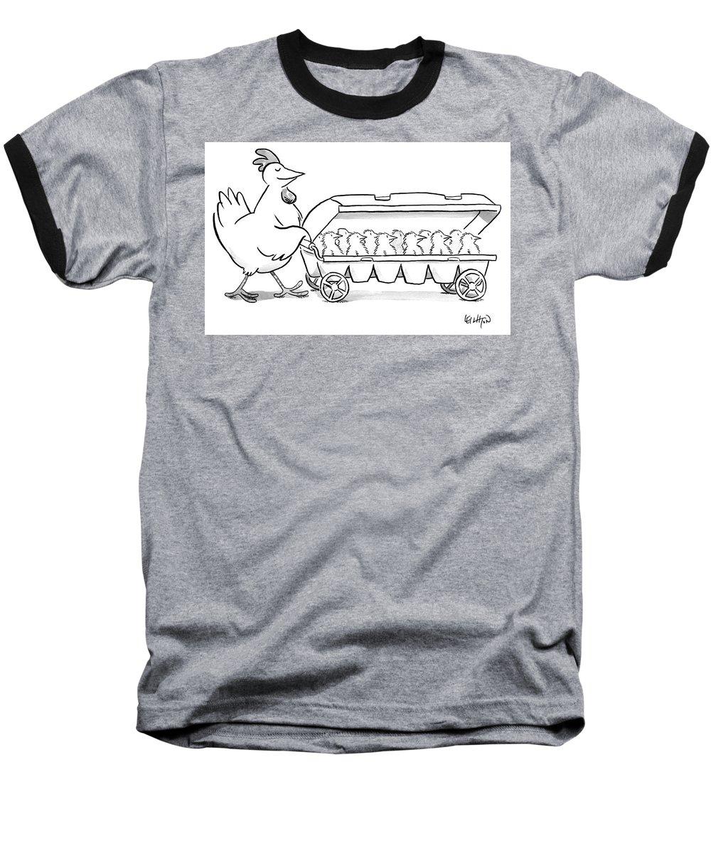 Hen Baseball T-Shirt featuring the drawing Carton Of Chicks by Robert Leighton