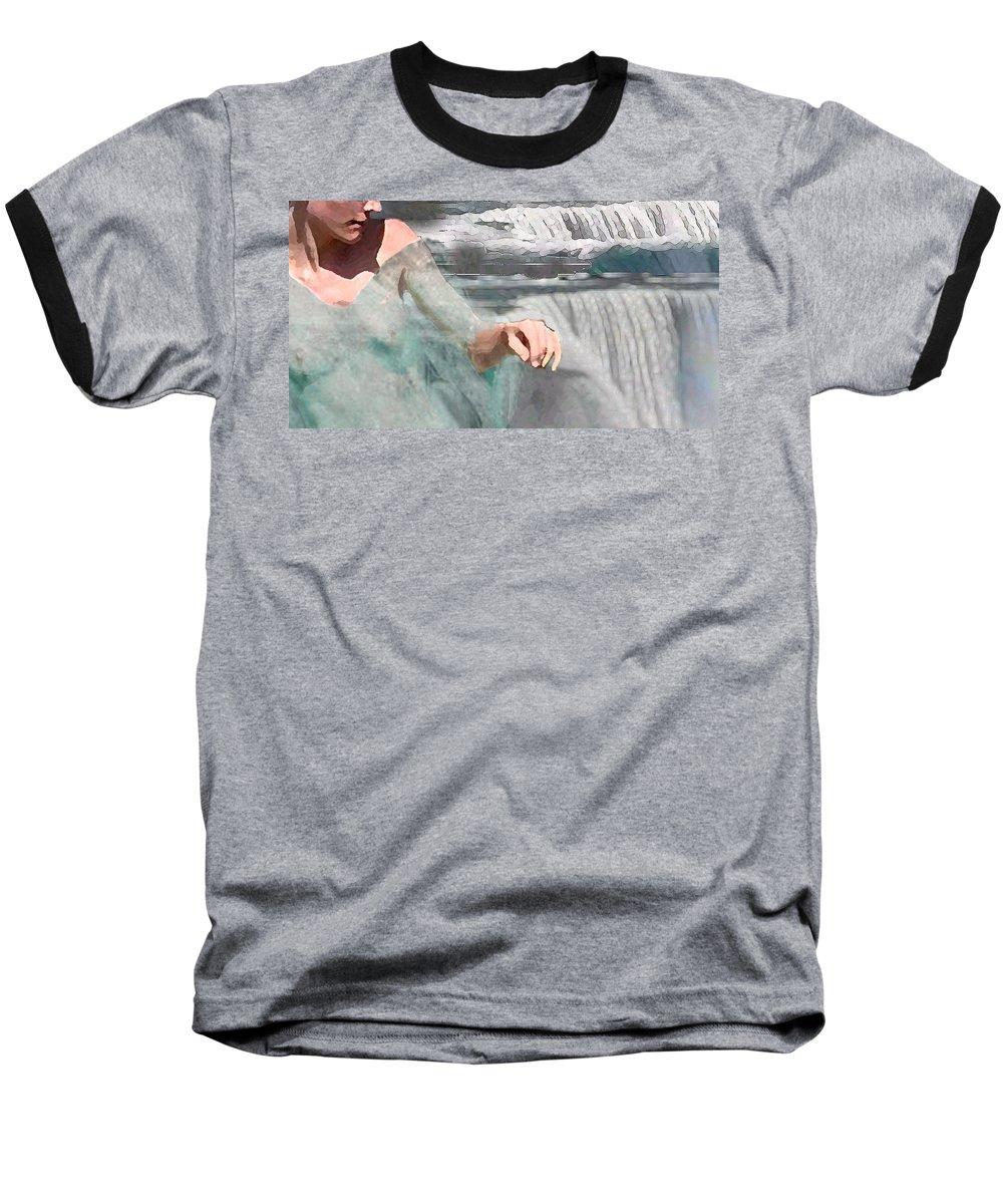 Waterscape Baseball T-Shirt featuring the digital art Cascade by Steve Karol