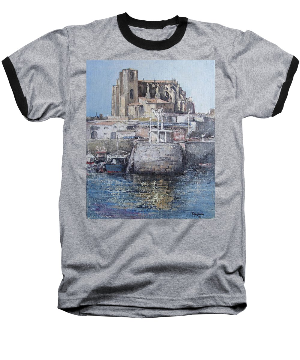 Castro Baseball T-Shirt featuring the painting Castro Urdiales by Tomas Castano