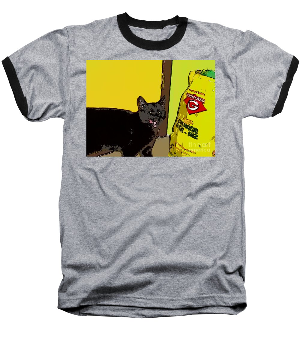 Photograph Cat Black Rice Yellow Critter Green Red Baseball T-Shirt featuring the photograph Cat And Rice by Seon-Jeong Kim