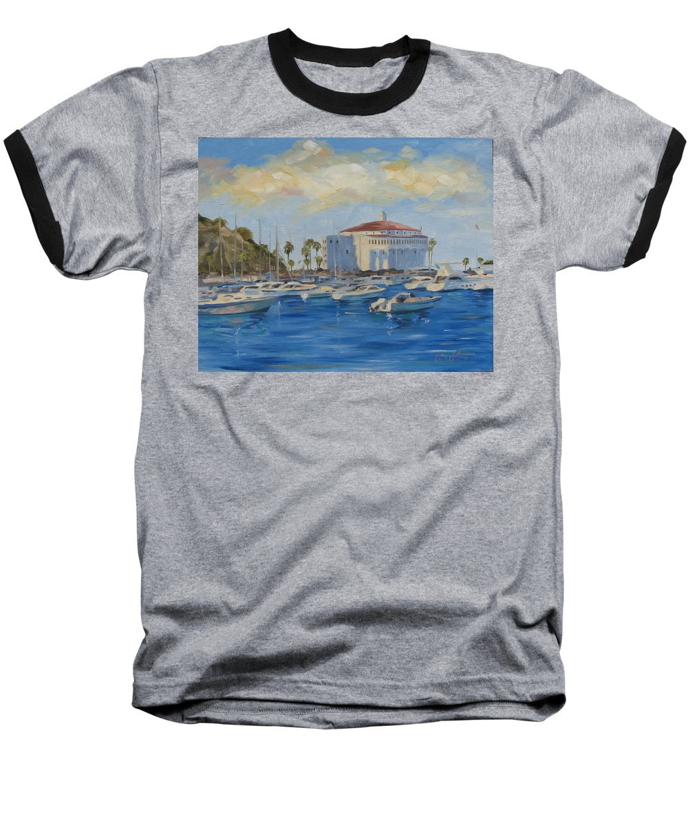 California Baseball T-Shirt featuring the painting Catallina Casino by Jay Johnson