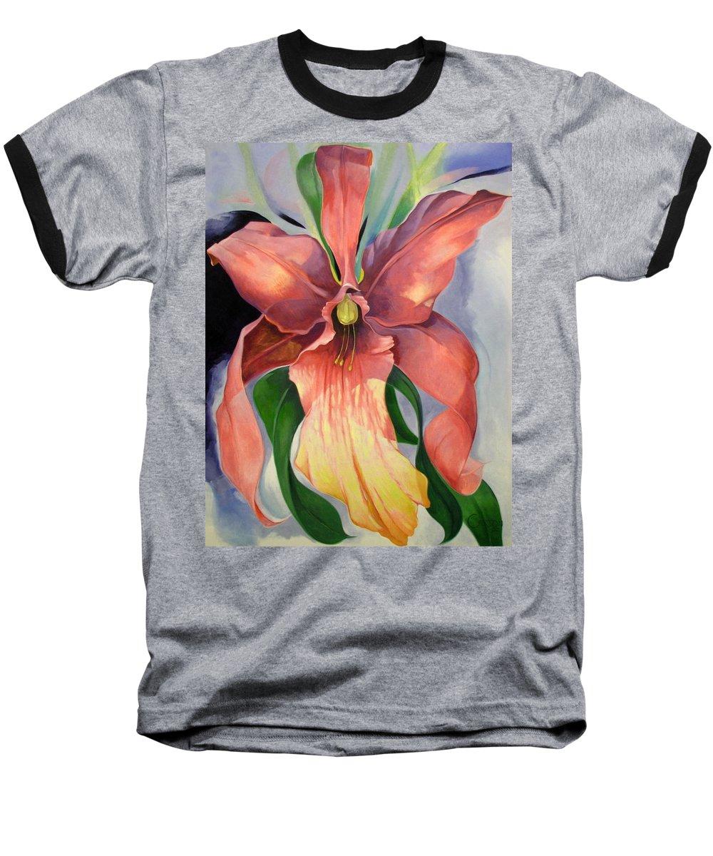 Catalya Baseball T-Shirt featuring the painting Catalya Orchid by Jerrold Carton