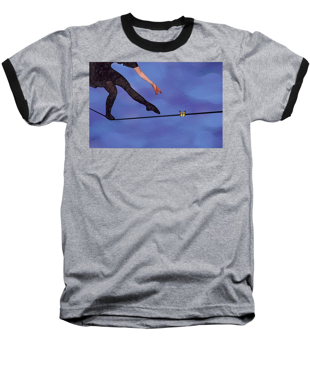 Surreal Baseball T-Shirt featuring the painting Catching Butterflies by Steve Karol