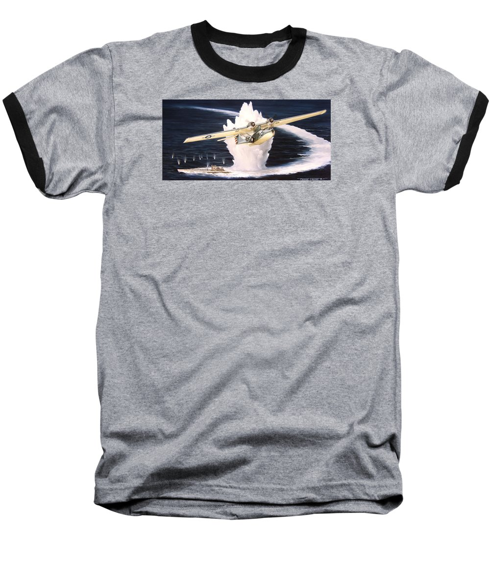 Military Baseball T-Shirt featuring the painting Caught On The Surface by Marc Stewart