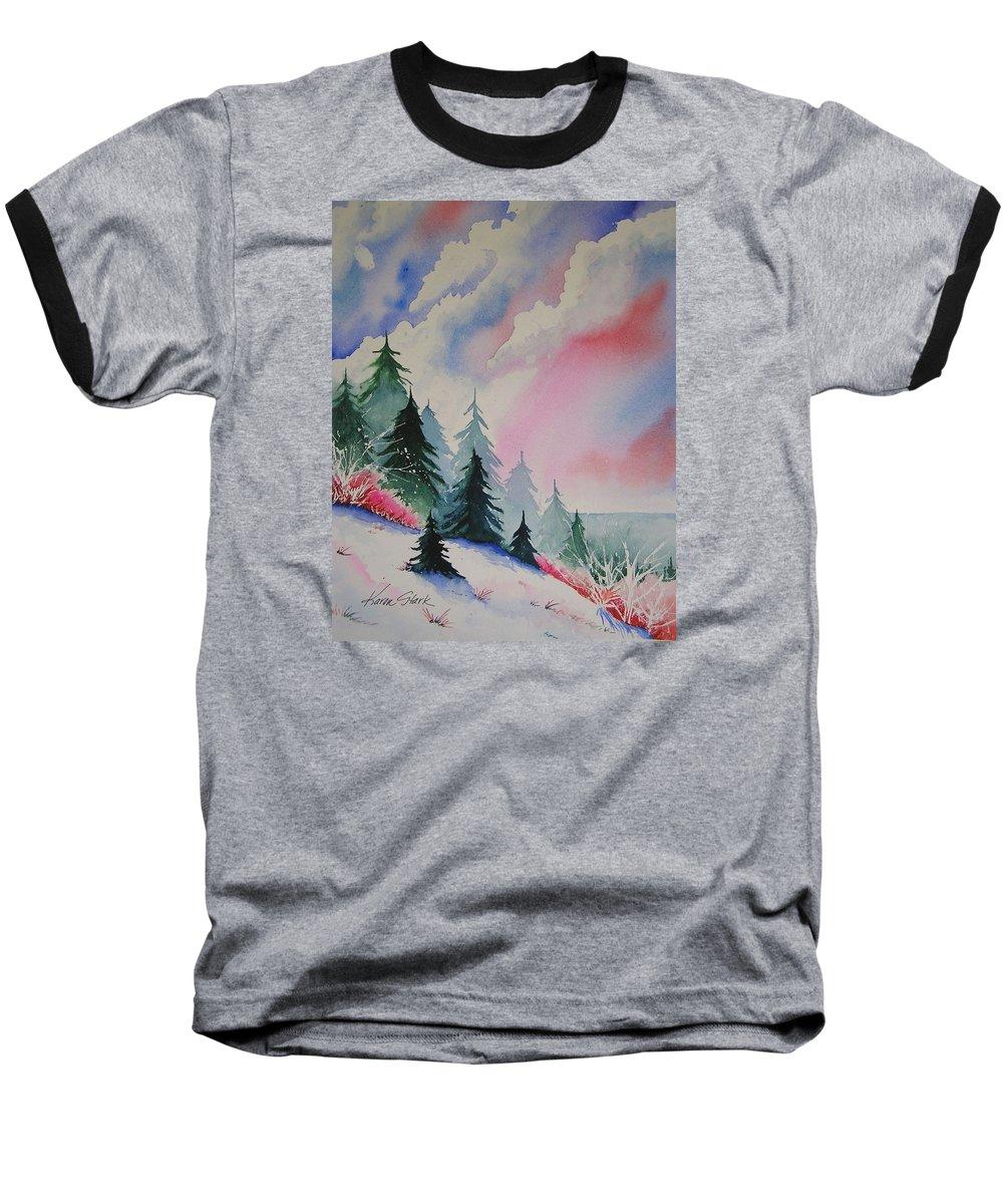 Snow Baseball T-Shirt featuring the painting Cedar Fork Snow by Karen Stark