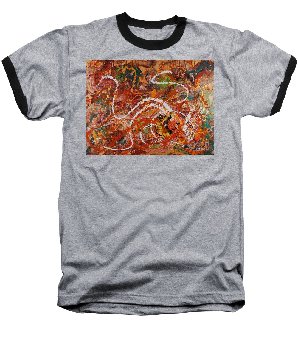 Orange Baseball T-Shirt featuring the painting Celebration II by Nadine Rippelmeyer