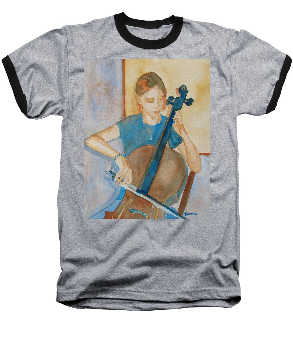 Girl Baseball T-Shirt featuring the painting Cello Practice Iv by Jenny Armitage