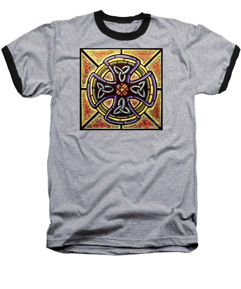 Celtic Baseball T-Shirt featuring the painting Celtic Cross 2 by Jim Harris
