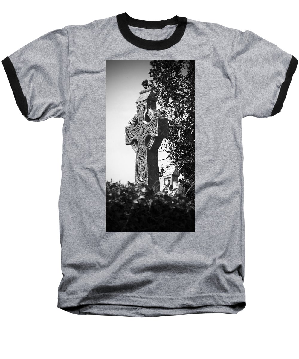 Celtic Baseball T-Shirt featuring the photograph Celtic Cross At Fuerty Cemetery Roscommon Ireland by Teresa Mucha