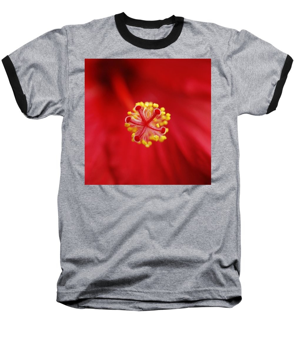 Flower Baseball T-Shirt featuring the photograph Center Of The Hibiscus Universe by Marilyn Hunt