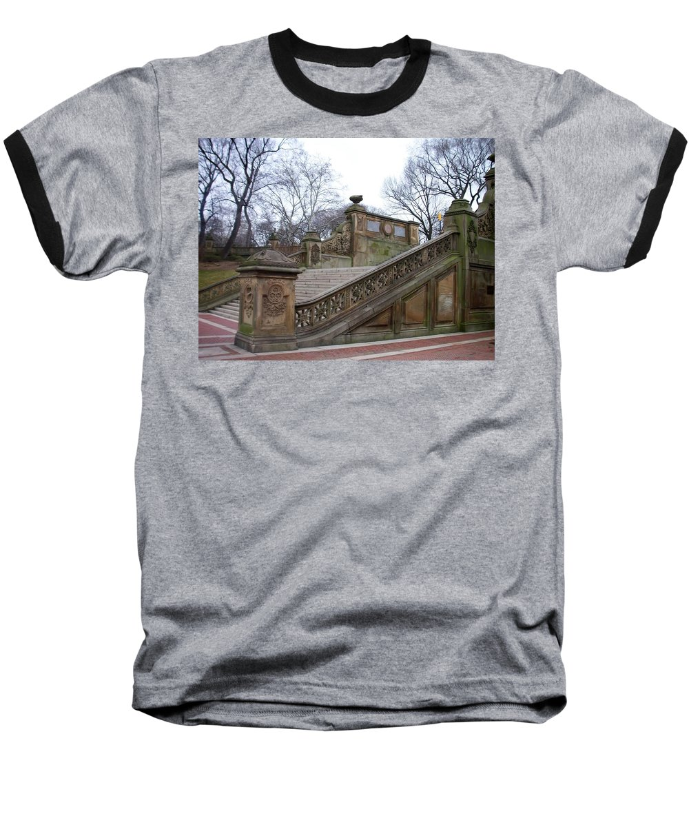 Central Park Baseball T-Shirt featuring the photograph Central Park Bethesda 1 by Anita Burgermeister