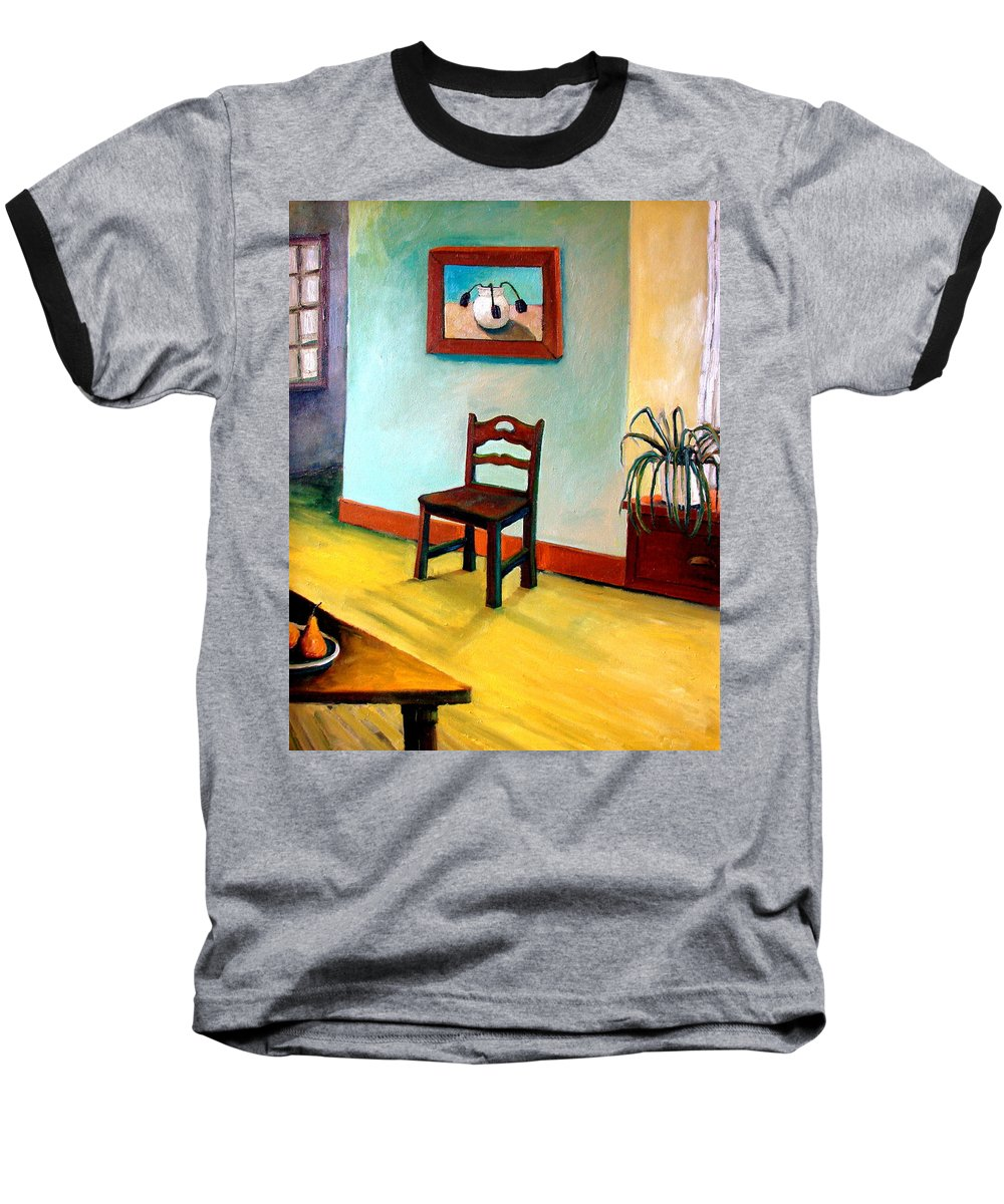 Apartment Baseball T-Shirt featuring the painting Chair And Pears Interior by Michelle Calkins