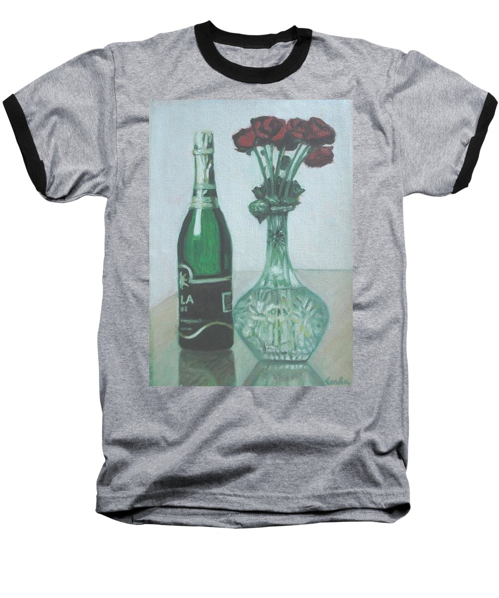 Champagne Baseball T-Shirt featuring the painting Champagne And Roses by Usha Shantharam