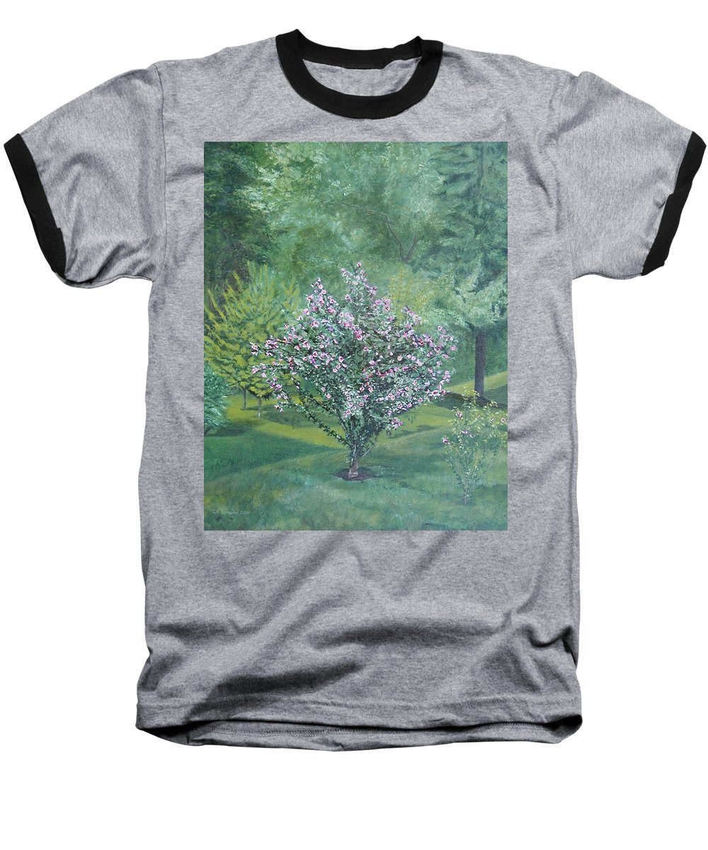Blooming Baseball T-Shirt featuring the painting Charles Street by Leah Tomaino