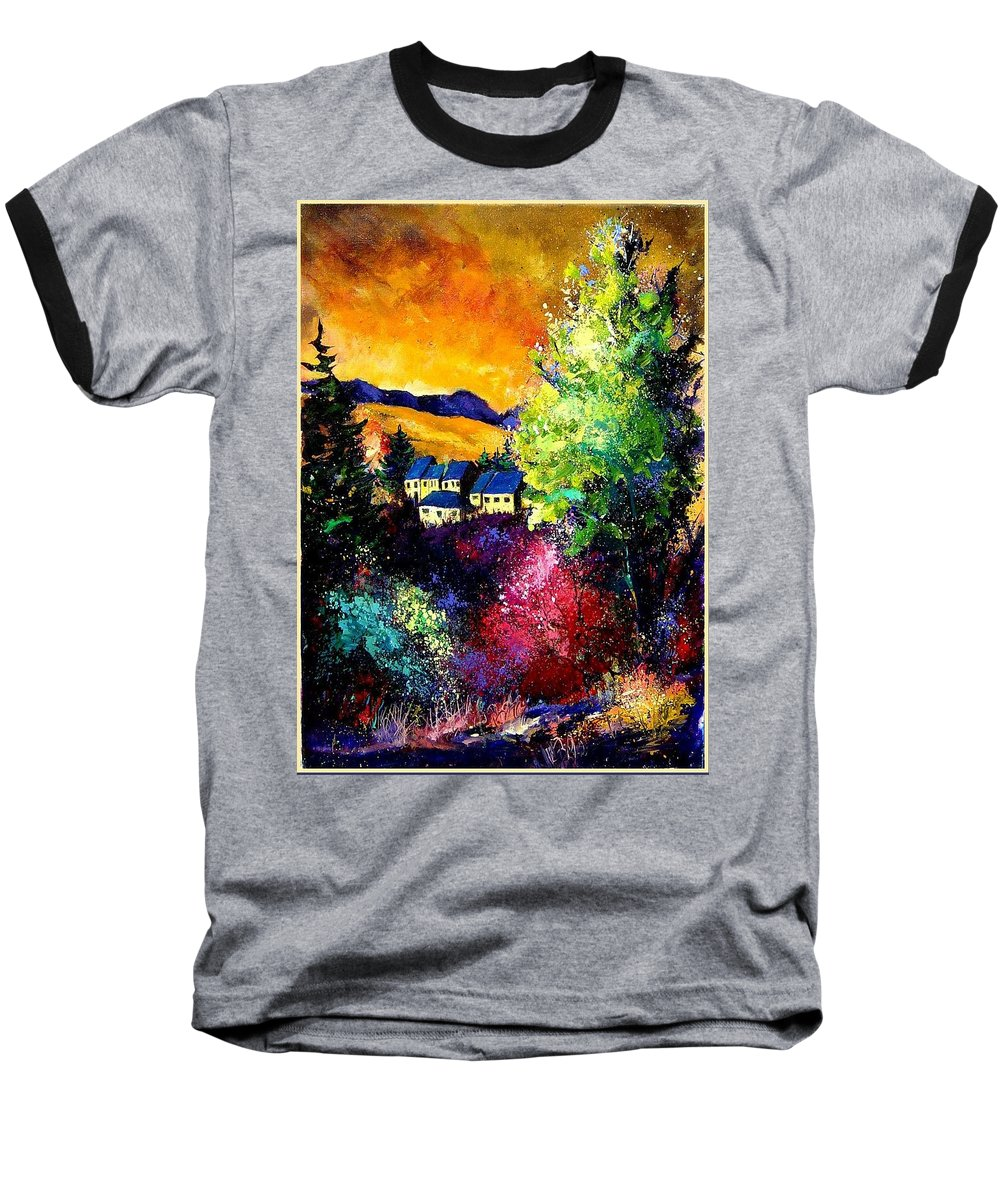 Landscape Baseball T-Shirt featuring the painting Charnoy by Pol Ledent