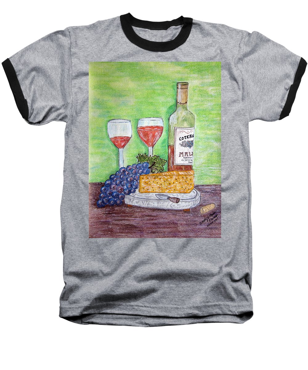 Cheese Baseball T-Shirt featuring the painting Cheese Wine And Grapes by Kathy Marrs Chandler
