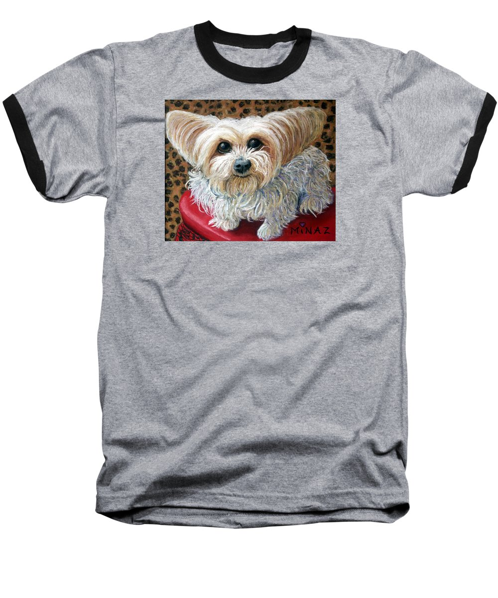 Dog Baseball T-Shirt featuring the painting My Friend by Minaz Jantz