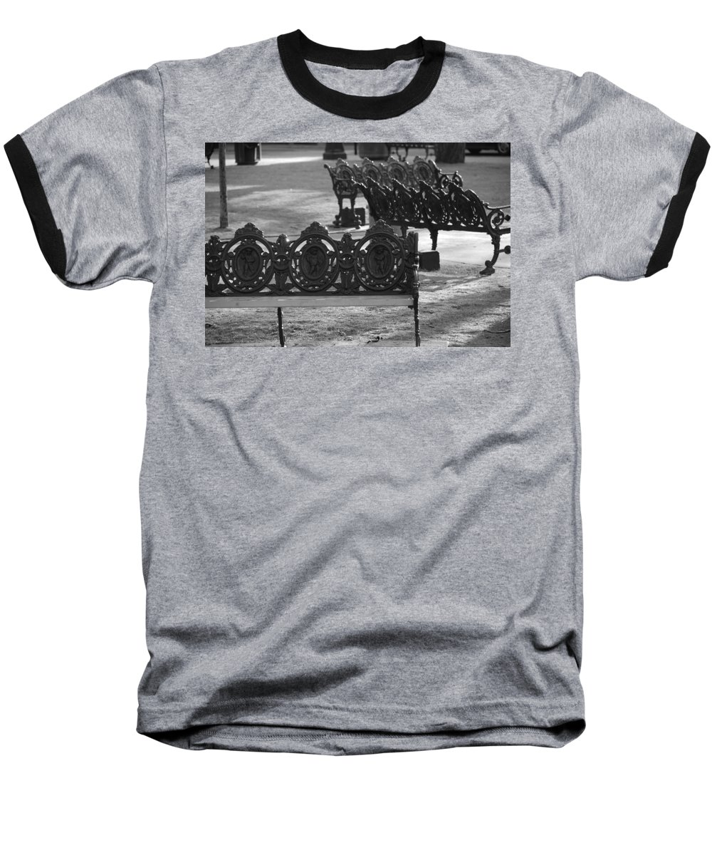 Black And White Baseball T-Shirt featuring the photograph Cherb Benches by Rob Hans