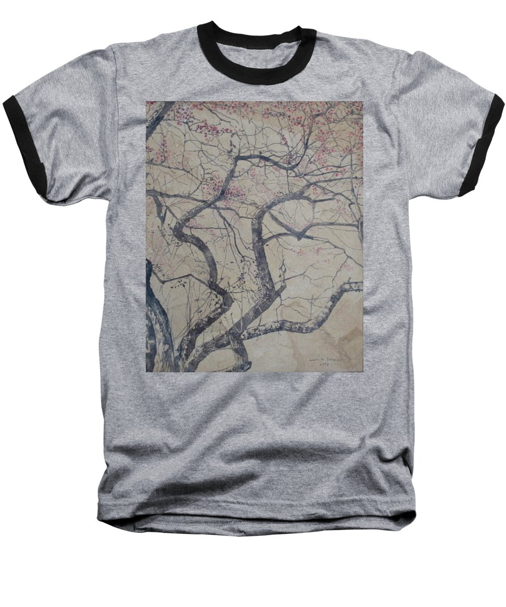 Crab Apple Baseball T-Shirt featuring the painting Prairie Fire by Leah Tomaino
