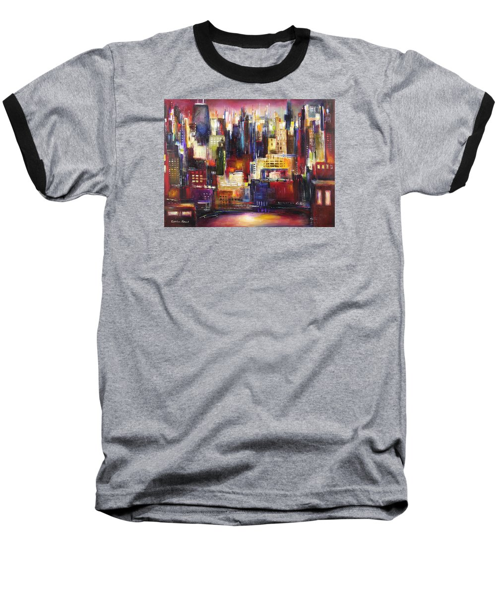 Chicago Art Baseball T-Shirt featuring the painting Chicago City View by Kathleen Patrick