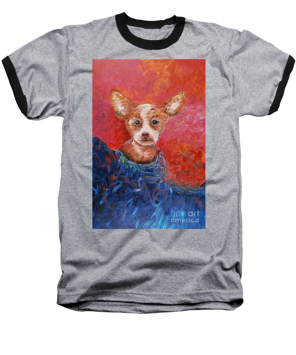 Dog Baseball T-Shirt featuring the painting Chihuahua Blues by Nadine Rippelmeyer