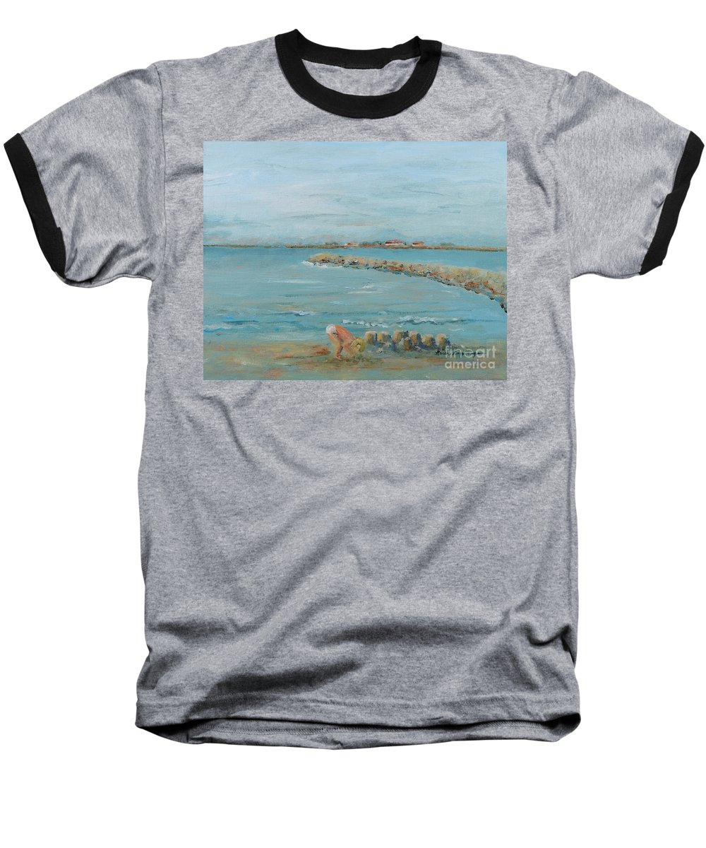 Beach Baseball T-Shirt featuring the painting Child Playing At Provence Beach by Nadine Rippelmeyer