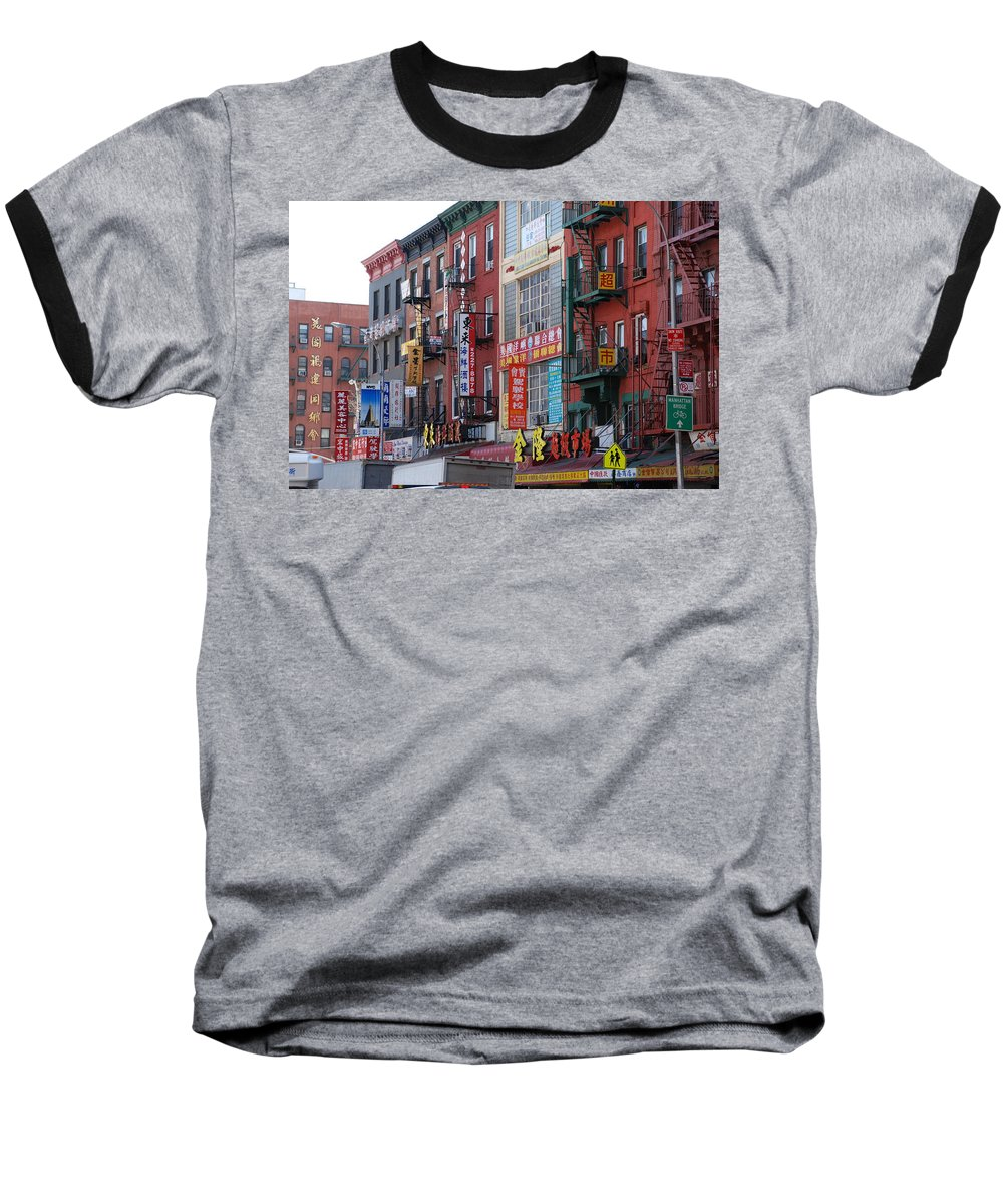 Architecture Baseball T-Shirt featuring the photograph China Town Buildings by Rob Hans
