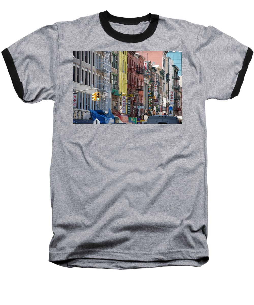 Architecture Baseball T-Shirt featuring the photograph Chinatown Walk Ups by Rob Hans