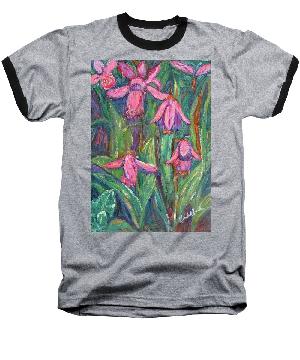 Floral Baseball T-Shirt featuring the painting Chinese Orchids by Kendall Kessler