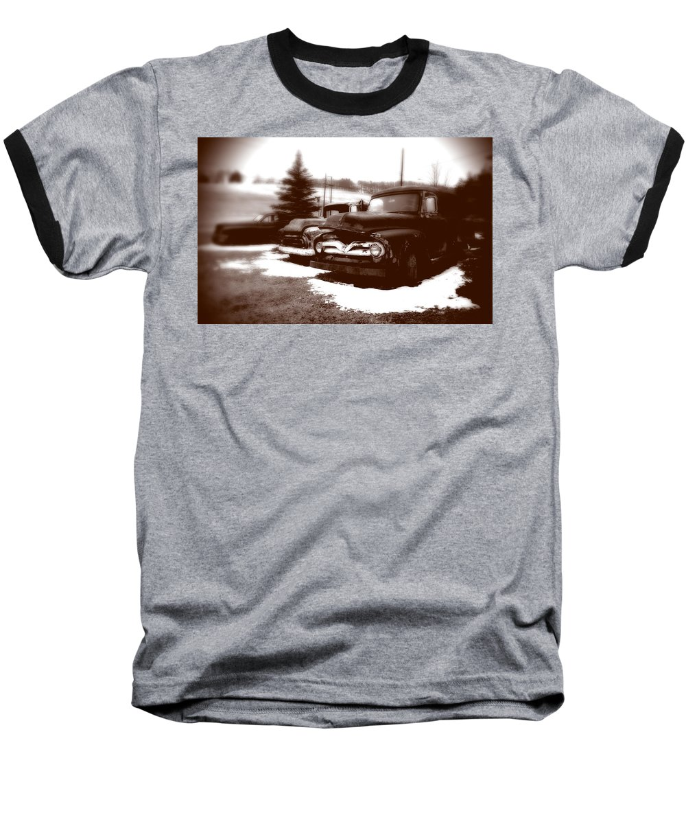Old Cars Baseball T-Shirt featuring the photograph Chocolate Ghosts by Jean Macaluso