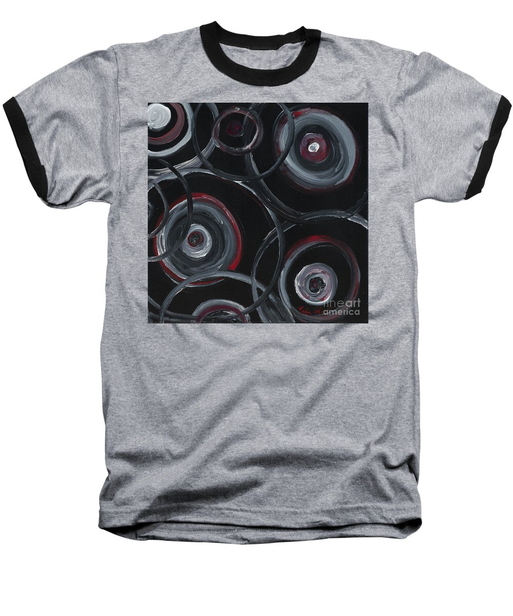 Circles Baseball T-Shirt featuring the painting Choices In Black by Nadine Rippelmeyer