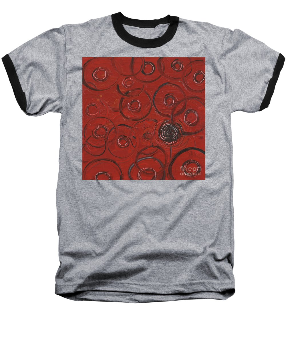 Red Baseball T-Shirt featuring the painting Choices In Red by Nadine Rippelmeyer