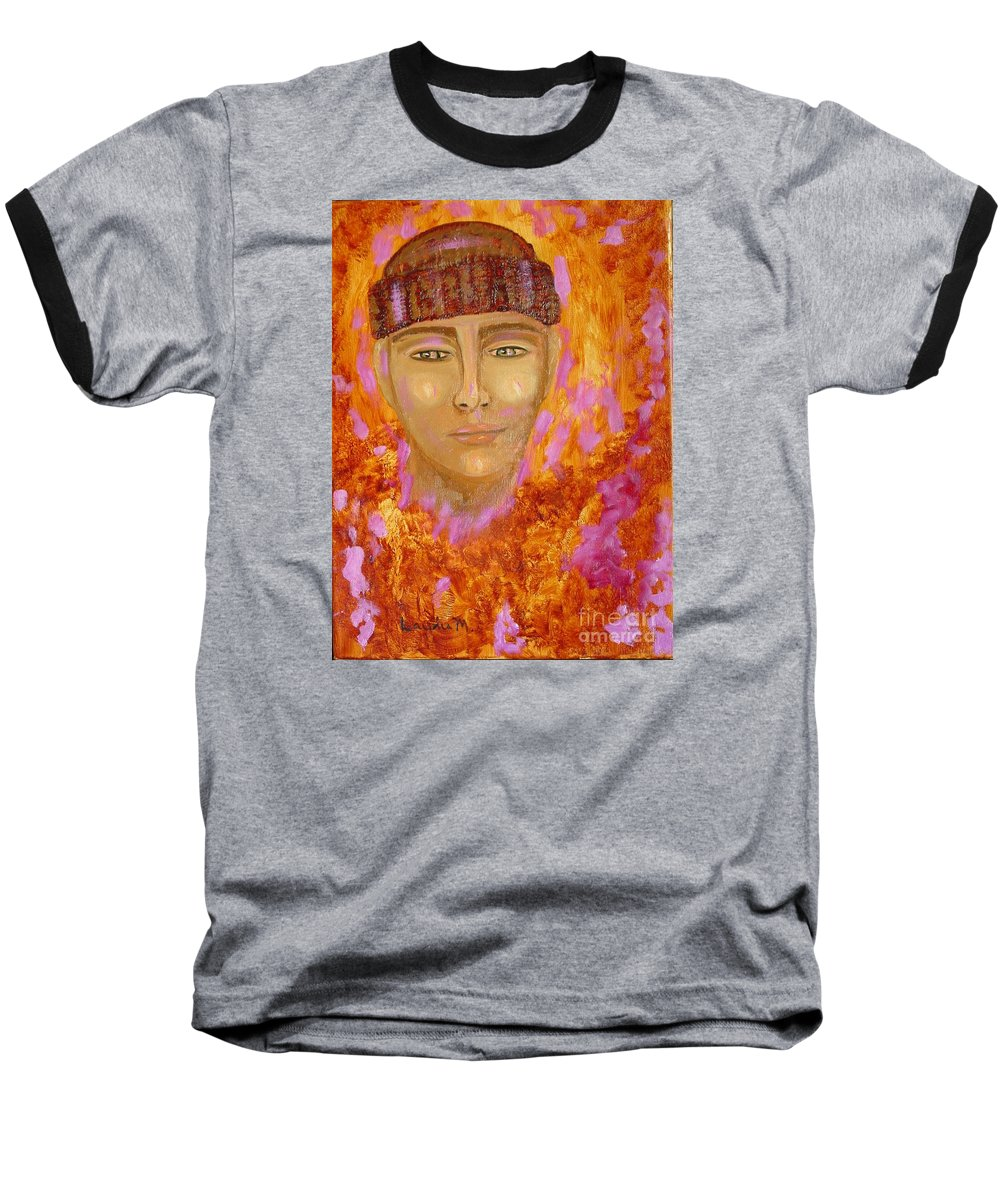 Portrait Baseball T-Shirt featuring the painting Choices by Laurie Morgan
