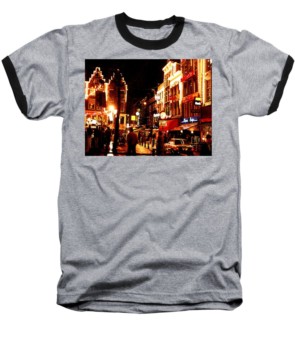 Night Baseball T-Shirt featuring the photograph Christmas In Amsterdam by Nancy Mueller