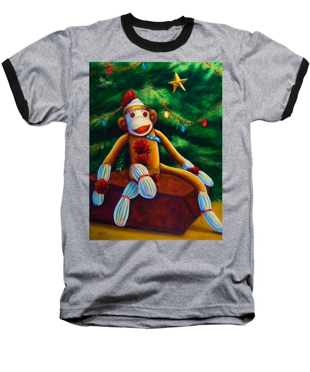 Sock Monkey Baseball T-Shirt featuring the painting Christmas Made Of Sockies by Shannon Grissom