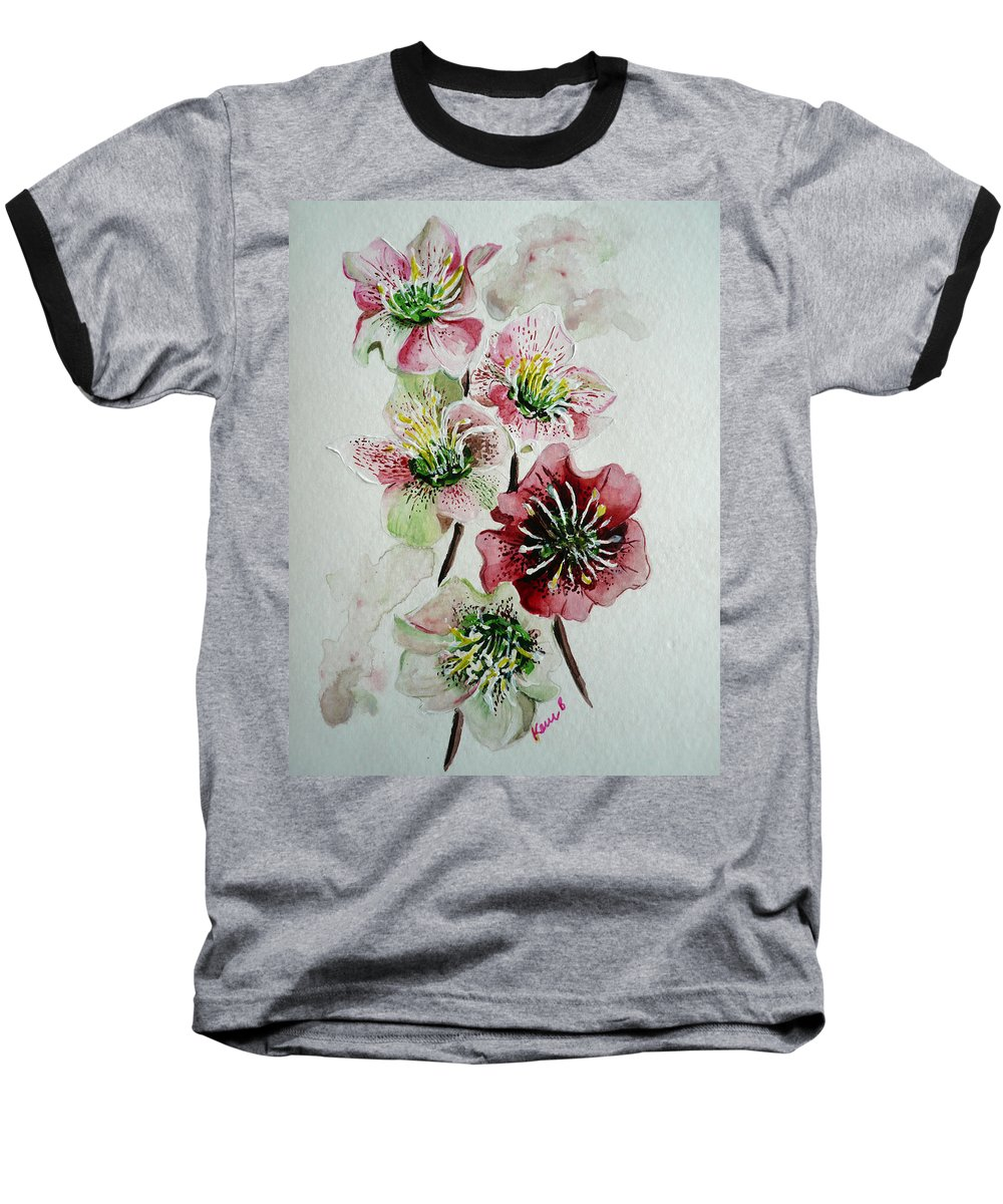 Floral Flower Pink Baseball T-Shirt featuring the painting Christmas Rose by Karin Dawn Kelshall- Best
