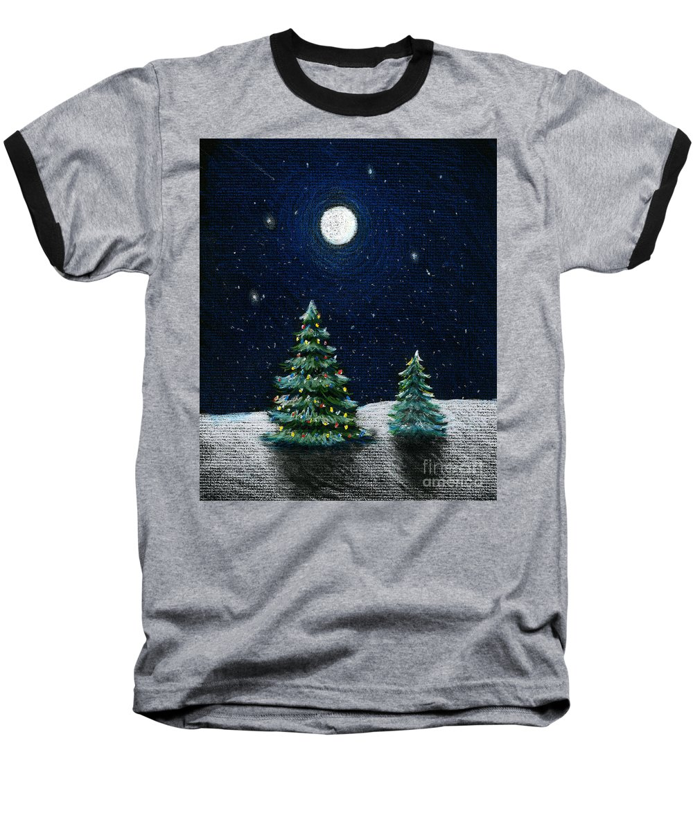 Christmas Trees Baseball T-Shirt featuring the drawing Christmas Trees In The Moonlight by Nancy Mueller