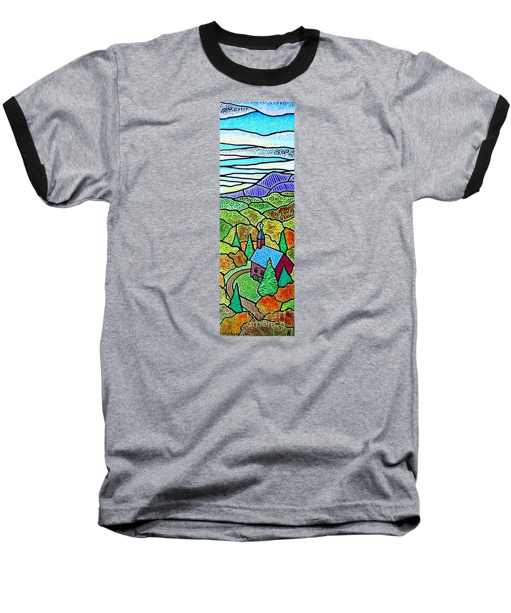 Church Baseball T-Shirt featuring the painting Church In The Wildwood by Jim Harris