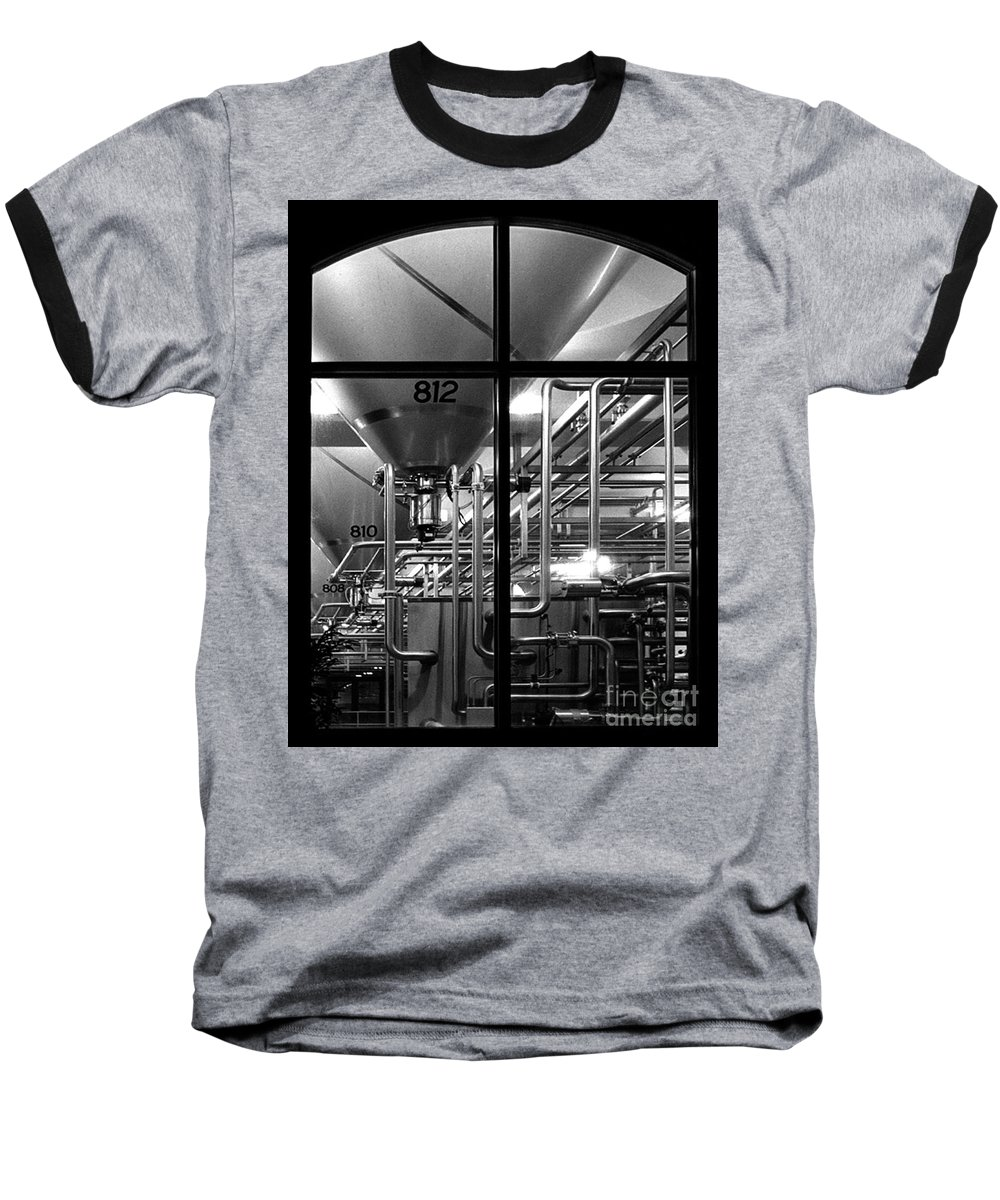 Black And White Baseball T-Shirt featuring the photograph Church Of Modern Man by Peter Piatt