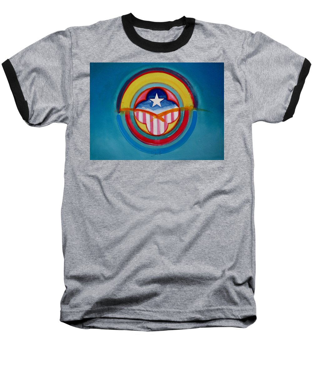 Button Baseball T-Shirt featuring the painting CIA by Charles Stuart