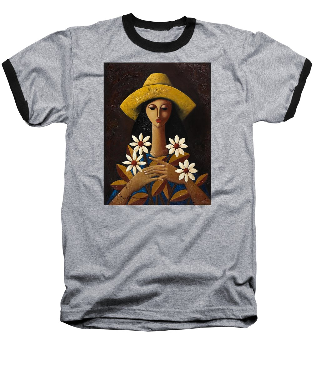 Puerto Rico Baseball T-Shirt featuring the painting Cinco Margaritas by Oscar Ortiz
