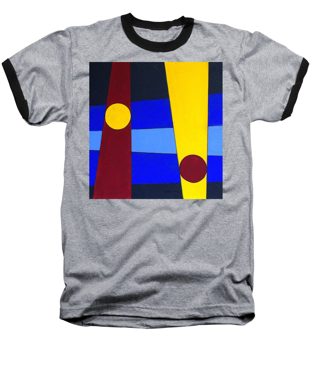 Abstract Baseball T-Shirt featuring the painting Circles Lines Color by J R Seymour