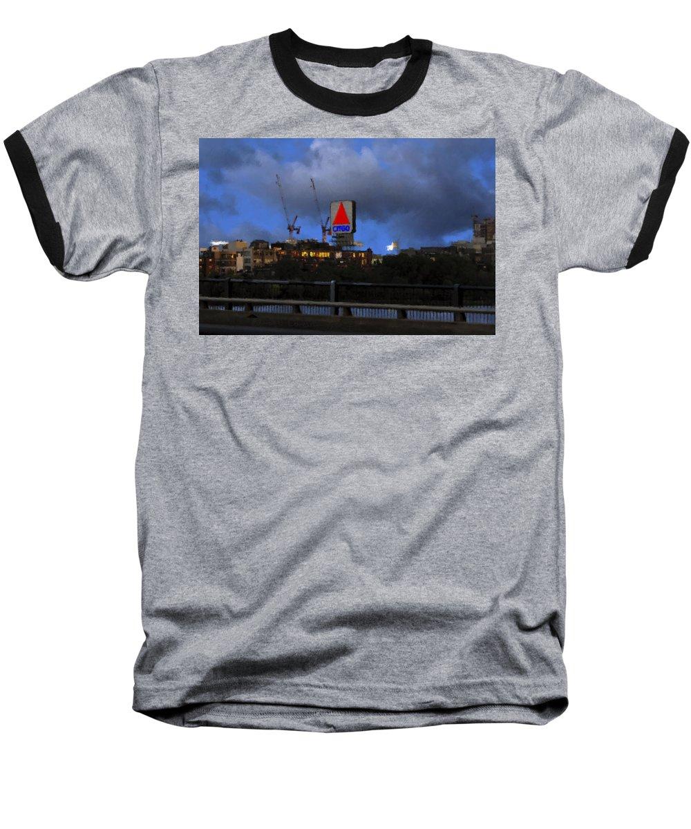Citgo Sign Baseball T-Shirt featuring the digital art Citgo Sign by Edward Cardini