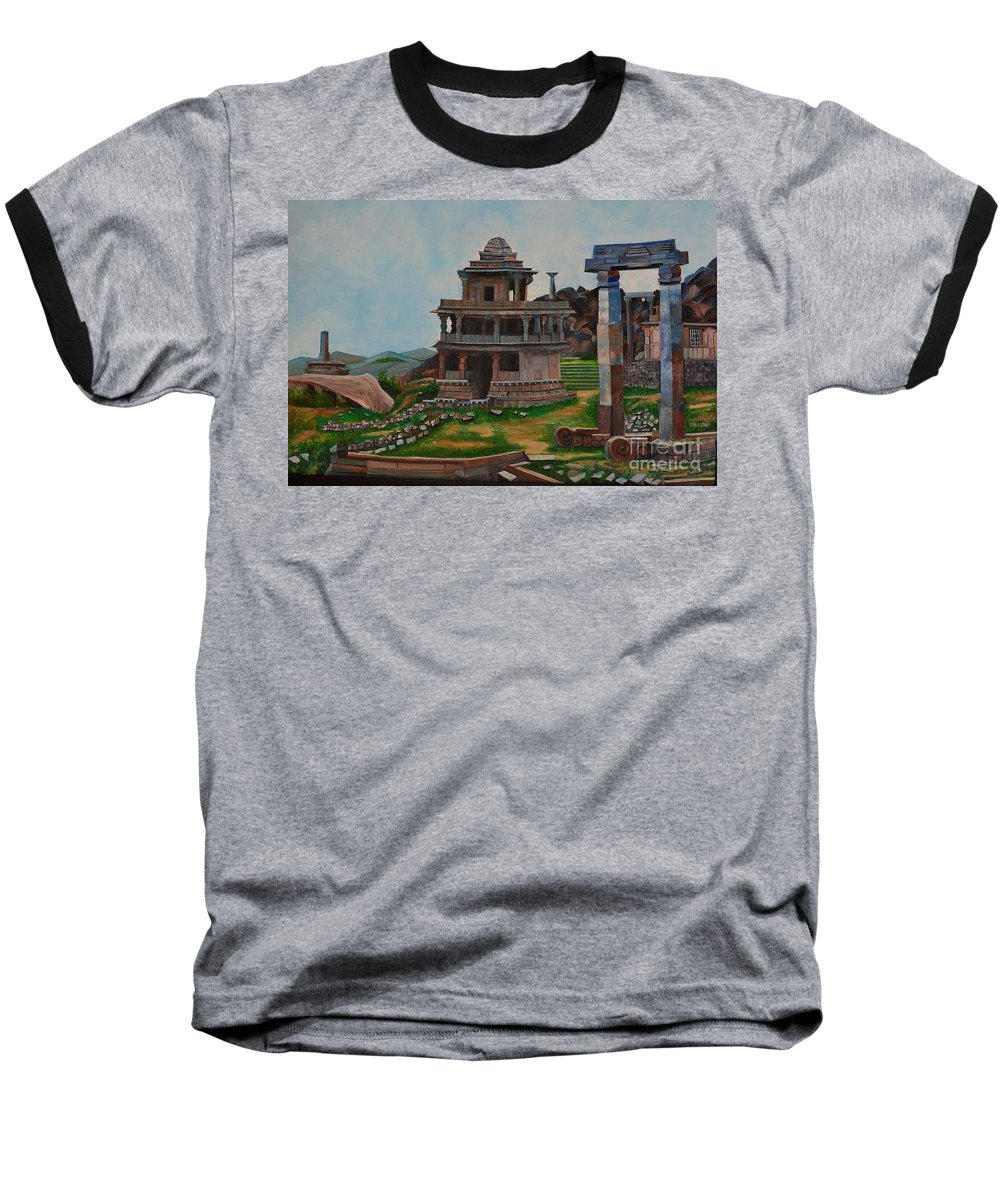 Landscape Baseball T-Shirt featuring the painting Cithradurga Fort by Usha Rai