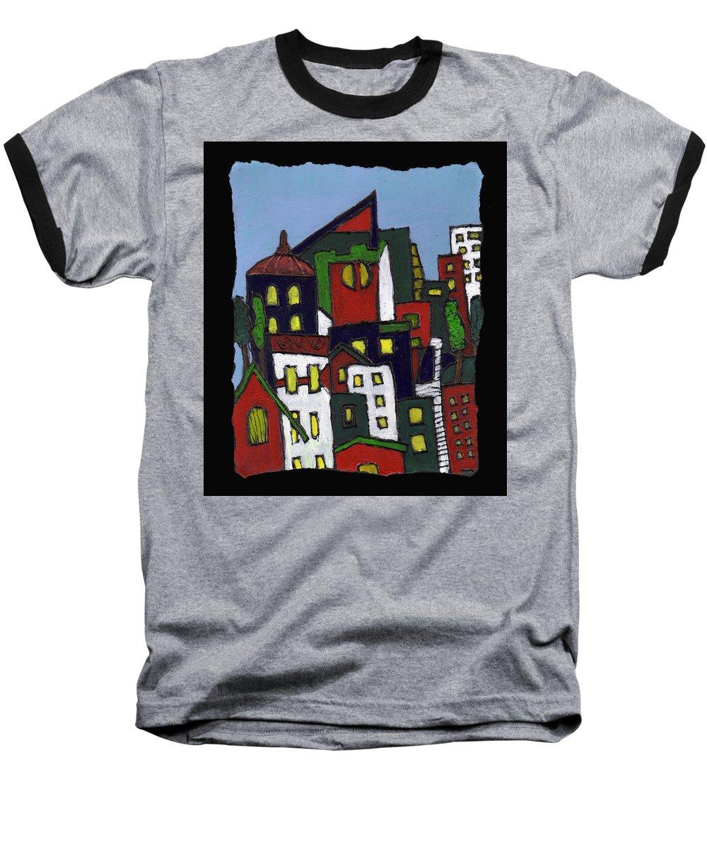 City Baseball T-Shirt featuring the painting City At Christmas by Wayne Potrafka