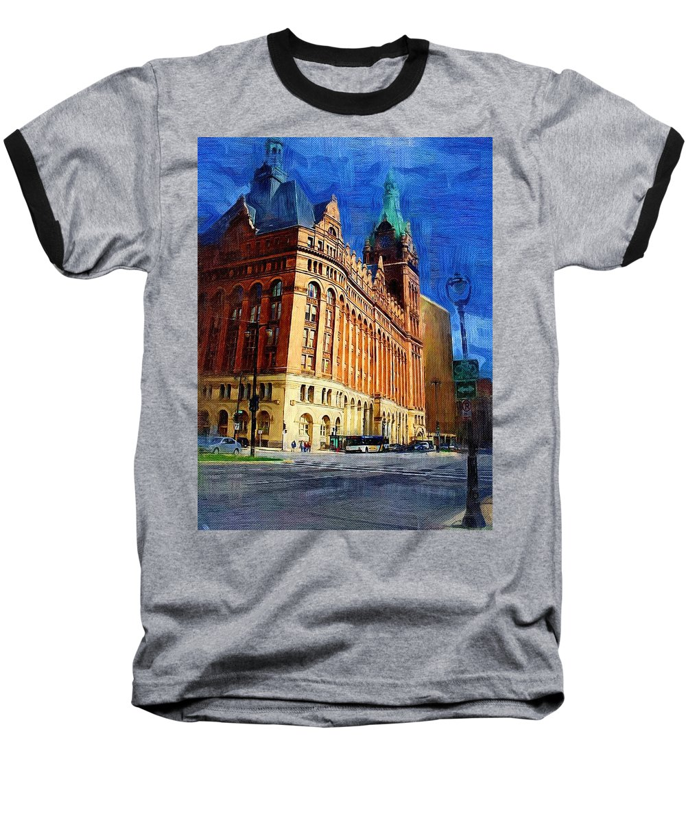 Architecture Baseball T-Shirt featuring the digital art City Hall And Lamp Post by Anita Burgermeister